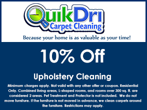 Upholstery Cleaning coupon for 10% off.
